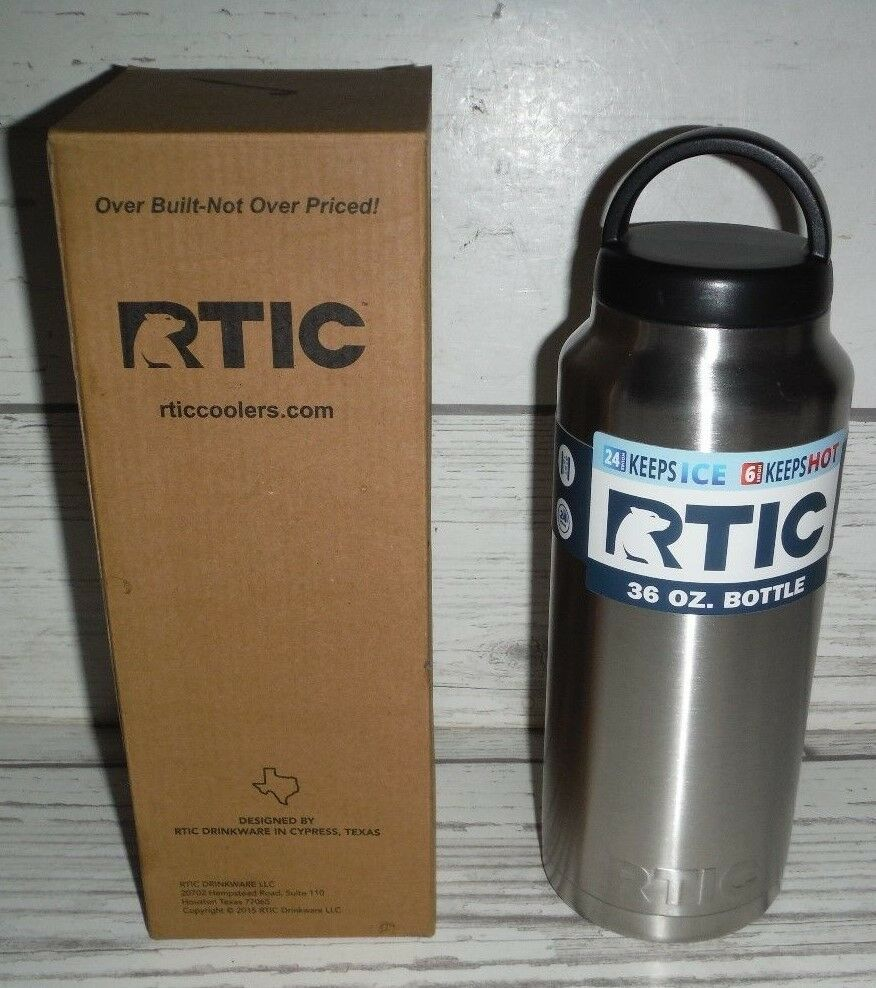 New Rtic Stainless Steel Bottle (36oz) Screw Top Lid Drink Hot Or Cold For Hours