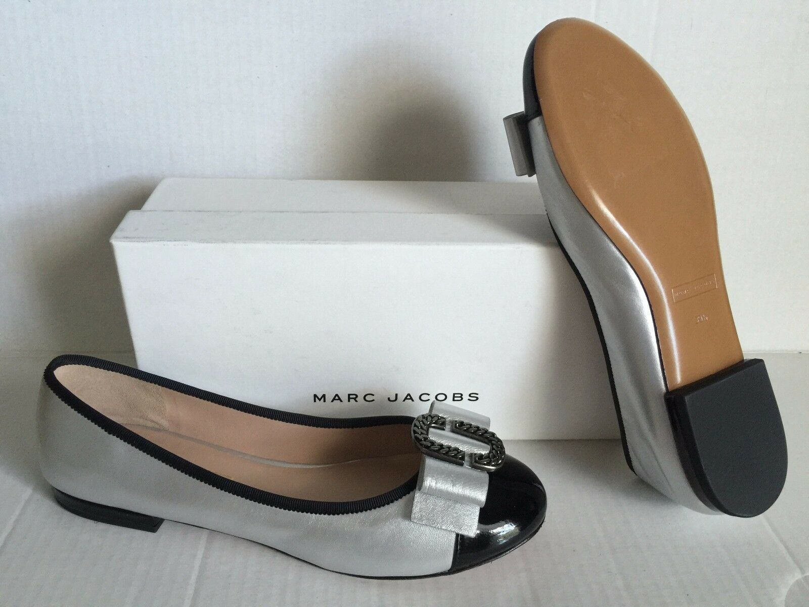 Marc Jacobs Silver Black Interlock Ballerina colorblock Flat Pumps 9.5