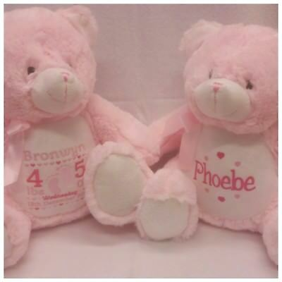 Personalised Teddy Bear Embroidered Baby Birthday Christening Gift Boy or Girl
