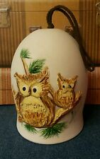 Sandstone Creations Hand Painted Bell Ceramic Wind Chime Owl Design