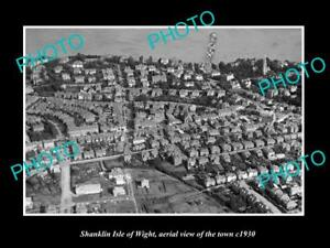 OLD-LARGE-HISTORIC-PHOTO-OF-SHANKLIN-ISLE-OF-WIGHT-TOWN-AERIAL-VIEW-c1930-1