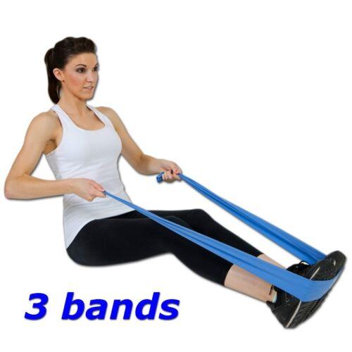 Resistance Band Stretch yoga SET of 3 pce exercise flatband  Knee HIP REHAB NEW