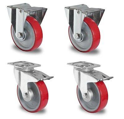 MüHsam 4 X Transportrollen 125mm Polyurethanbereifung Rollenlager Lenkrolle Tk 200kg Gastro & Nahrungsmittelgewerbe