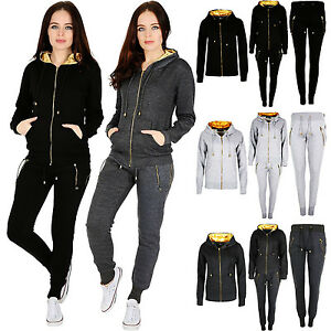 bfed9f1eb13e0 New Ladies Women GOLD ZIP GYM Wear Pullover Hooded Joggers Tracksuit ...