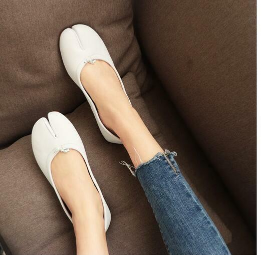 Womens Leather Split Toe Flats Sandals Pumps Casual shoes Retro Korean Loafers