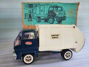 Vintage-Tonka-Sanitary-Service-Garbage-Truck-Pressed-Steel-Toy-690-Trash-Hauler
