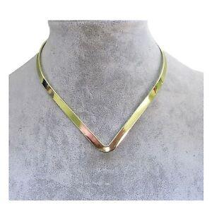 New-Shiny-Gold-Plated-V-Shaped-6mm-Wide-Elegant-Choker-Collar-Necklace-CV4