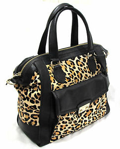 Cole-Haan-Zoe-Leopard-Haircalf-amp-Black-Leather-Structured-Satchel-Purse-B39423
