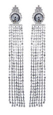 CLIP ON EARRINGS - silver plated chandelier earring crystal strands - Veda S