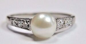 Image Is Loading Antique Vintage Deco Pearl Diamond Engagement Ring Platinum