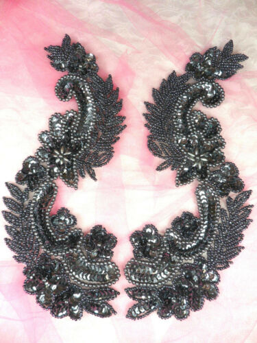"""0180 Sequin Appliques Gunmetal Mirror Pair Beaded Patch Sewing Motif 8.25/"""""""