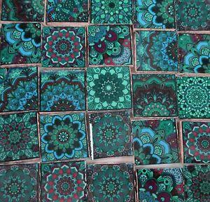 Ceramic Mosaic Tiles Blue Green Teal Medallions Moroccan Tile