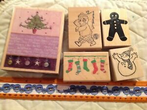 Christmas-amp-Winter-Wood-Mounted-Rubber-Stamp-Lot-5