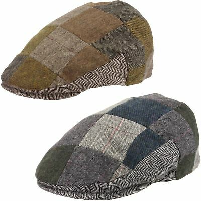 Mens Flat Cap Quality Classic Wool Blend Brown /& Blue Dogtooth Check