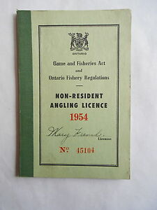 Vintage 1954 Ontario Canada Non Resident Angling Licence