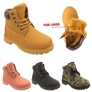 Kids Boys Girls Winter Warm Ankle Boots Army Combat Biker Hiking Snow Shoes New
