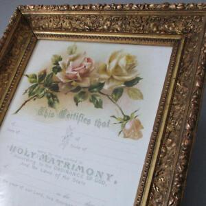 Antique-c1900-Decorative-16-034-GILT-Wood-Gesso-Frame-Marriage-Certificate-KLEIN