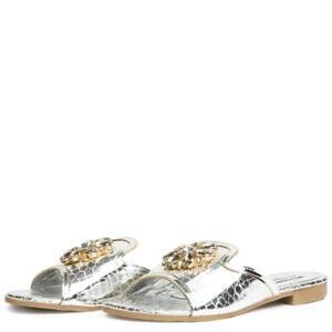 Cape-Robbin-Leela-10-Silver-Slide-Open-Toe-Slip-on-Mule-Broche-Flat-Sandals