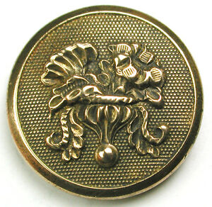 """Antique Golden Age Brass Button Detailed Flower Design - 7/8 """""""