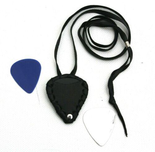 Handmade Leather Case Pouch Pendant for plectrums guitar pick Metal Rock Black