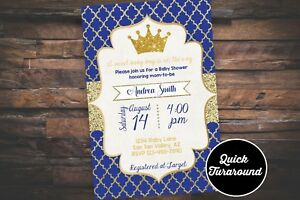 prince baby shower invitation royal prince invitation printed 4x6
