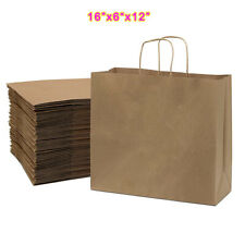 50 Pcs 16x6x12 Kraft Paper Bags With Handles Shopping Retail Grocery Bags