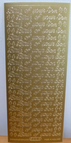 318 Birth Of Your Son 2 X Sheets Of Gold Peel Offs