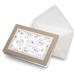Greetings-Card-Biege-Cartoon-Teeth-Dental-Dentist-2813