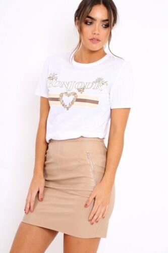Women Celeb Designer Inspired Casual Tops Guilty Queen Bonjour Slogan T Shirt