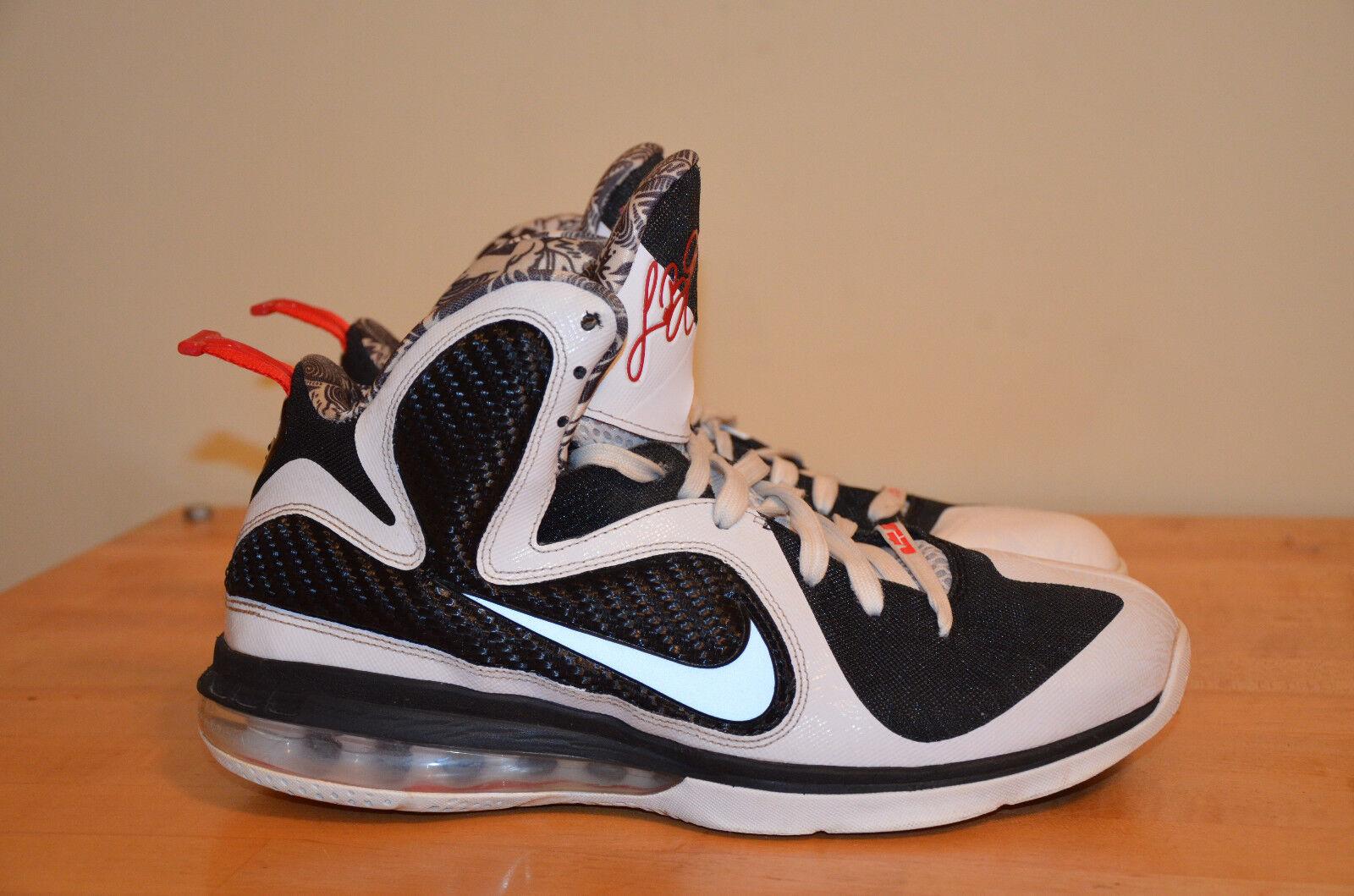 Nike Lebron 9 Freegums Weiß Schwarz Sport-Rot 469764-101 Miami Heat Sz 9.5