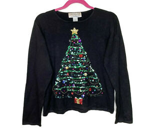 Tiara-International-2004-Womens-Christmas-Tree-Beaded-Black-Sweater-Size-Large