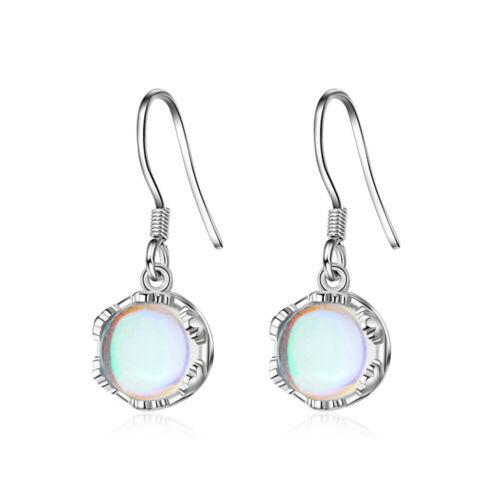 Para mujeres Encantador Elegante Redondo Plata Esterlina 925 Gancho Pendientes colgantes de piedra lunar