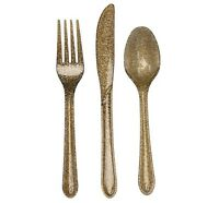 Glitz Gold Glitter Assorted Cutlery 24 Count, Elegant Gold Utensils For Party