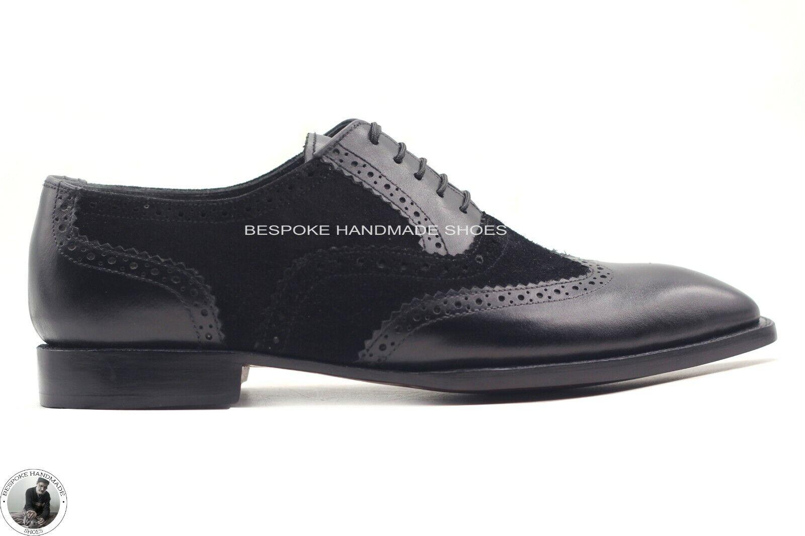 Handgemachte Herren zweifarbige schwarze Wildleder Wingtip Schnürschuhe