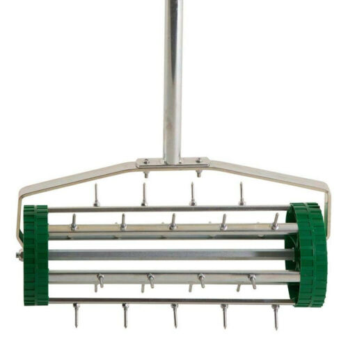 Gardening Lawn Aerator Grass Roller With 3 Level Adjustable Telescopic Handle