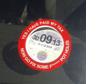 Funny-Gift-Yes-I-039-ve-Paid-Tax-Now-Fix-Pot-Holes-Car-Tax-Disc-Holders-with-Slot
