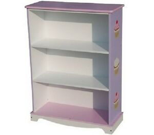 Kids Girls Wooden Bookcase Bookself Storage Cup Cake Design