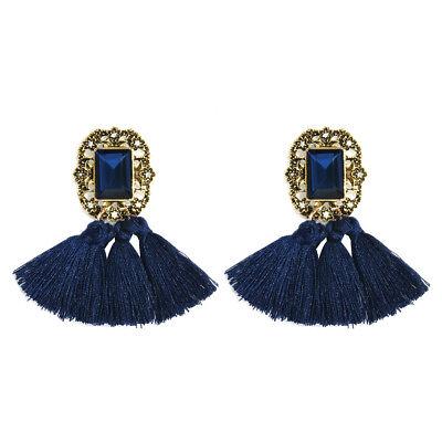 1 Pair Elegant Women Jewelry Rhinestone Ear Stud Crystal Tassel Earrings