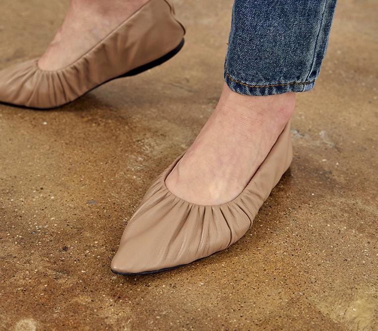 Handmade] Women Lamb Skin Babette shoes Sheep Leather Point Toe Toe Toe Gathered In Beig bb29ed