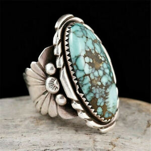 Vintage-Women-Jewelry-925-Silver-Turquoise-Gem-Wedding-Ring-Size6-10-Happiness