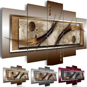 Details zu Wandbilder xxl Abstrakt Leinwand Bilder braun grau Wohnzimmer  bordo 020101-22