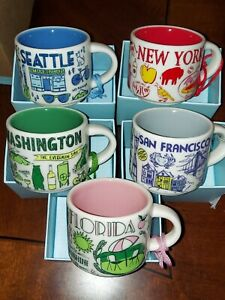 "STARBUCKS ~ ""Been There"" Ornament Mugs & Gift Bag  (NEW) ~2oz USA Series BTS NWT"