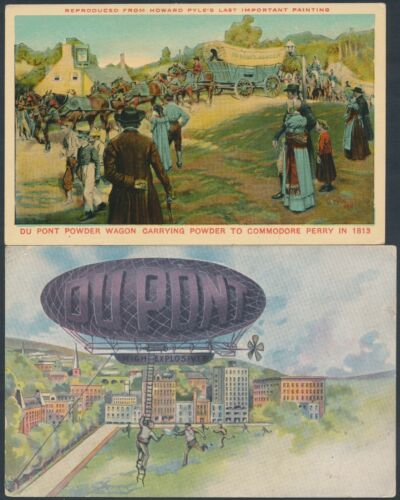 2 DIFFERENT DUPONT SHOOT POWDER UNUSED POSTCARDS BS4624