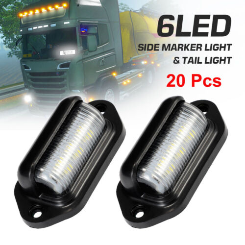 20Pcs Universal LED License Number Plate Light Lamps for Truck SUV Trailer Lorry