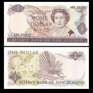 Nd Banknote Unc P-169 New Zealand 1 Dollar 1981-92