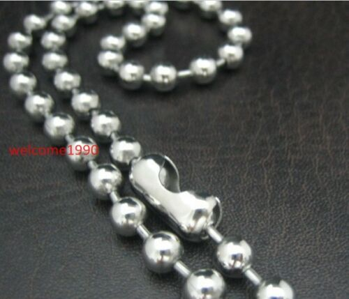 """18/'/'-32/"""" Silver Stainless Steel Huge 6mm 8mm Round Ball Beaded Necklace Unisex"""
