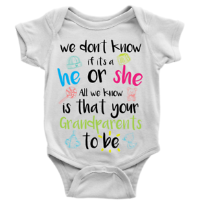 grandparents to be babygrow new baby announcement boy or girl body