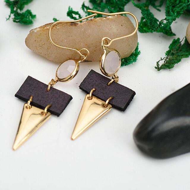 1Pair Women Tassel Bead Ear Stud Jewelry Bohemia Style PU Drop Crystal Earrings