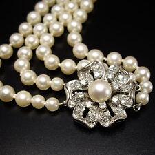 1,2 ct Diamantschließe Prächtiges Akoya Perlen Collier 2-reihig Perlenkette