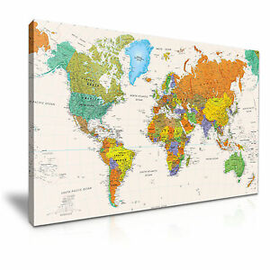 Carte Du Monde Toile Encadre Imprimer Mur Art Chambre Deco Plus